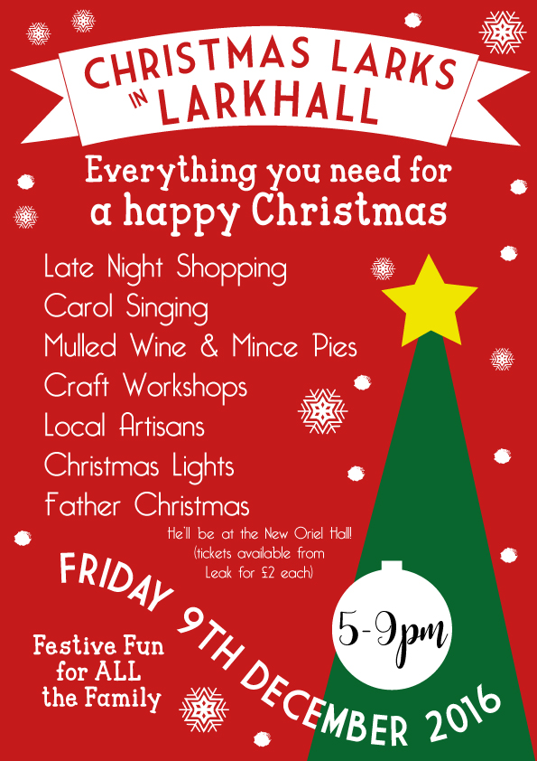 Christmas Larks Friday 9th December 5.00pm – 9.00pm