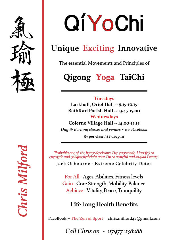 QiYoChi starting Tuesday 7th March 9.15 – 10.15