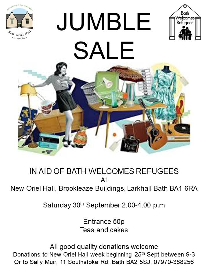 Jumble Sale in aid of Bath Welcome Refugees – Saturday 30th September