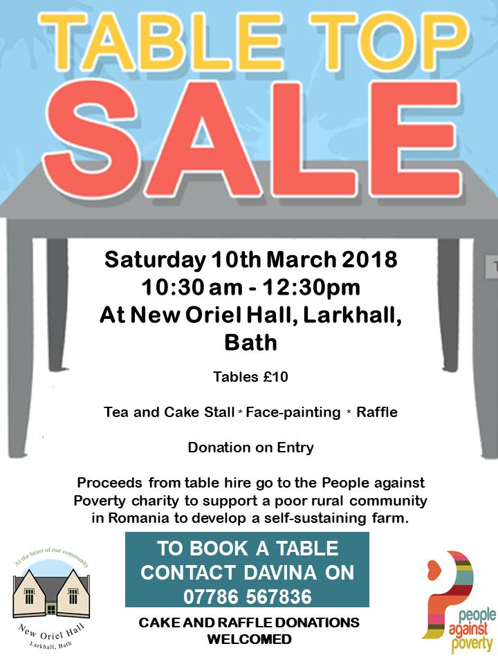 Table Top Sale in Aid of People against Poverty